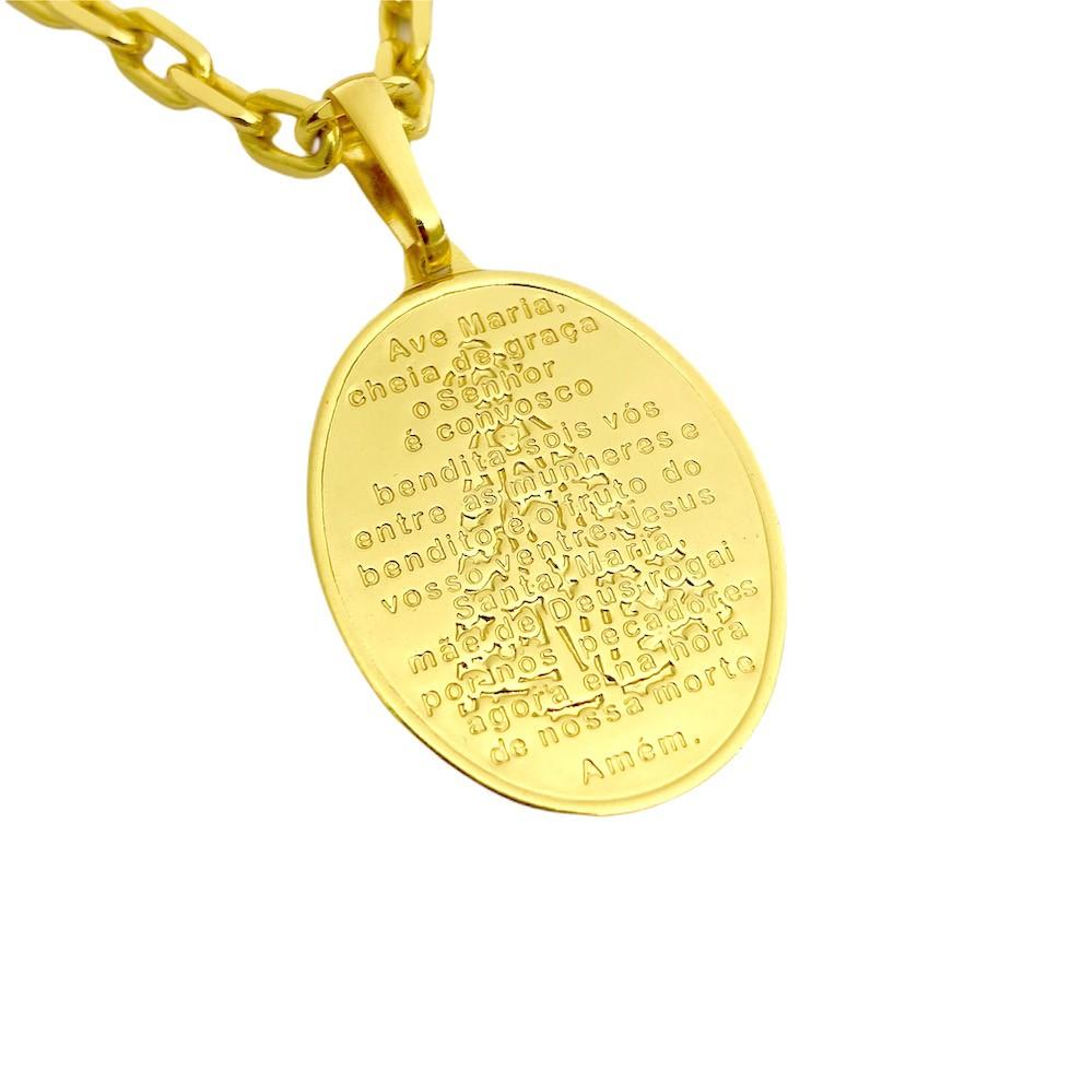 """Pingente Medalhão Oval """"Ave Maria"""" 3cm x 2,2cm (Banho Ouro 24k)"""