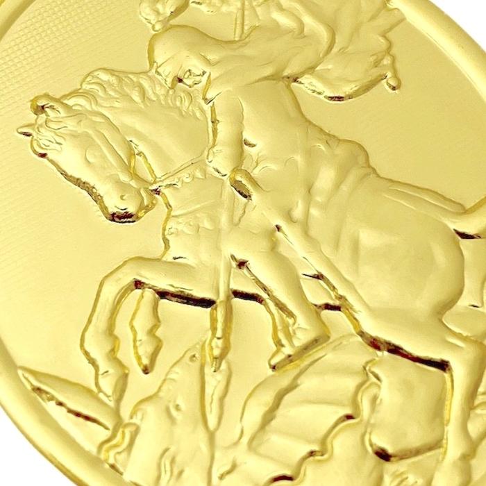 Pingente Medalhão Oval de São Jorge (4,7cmX3,5cm) (Banho Ouro 24k)