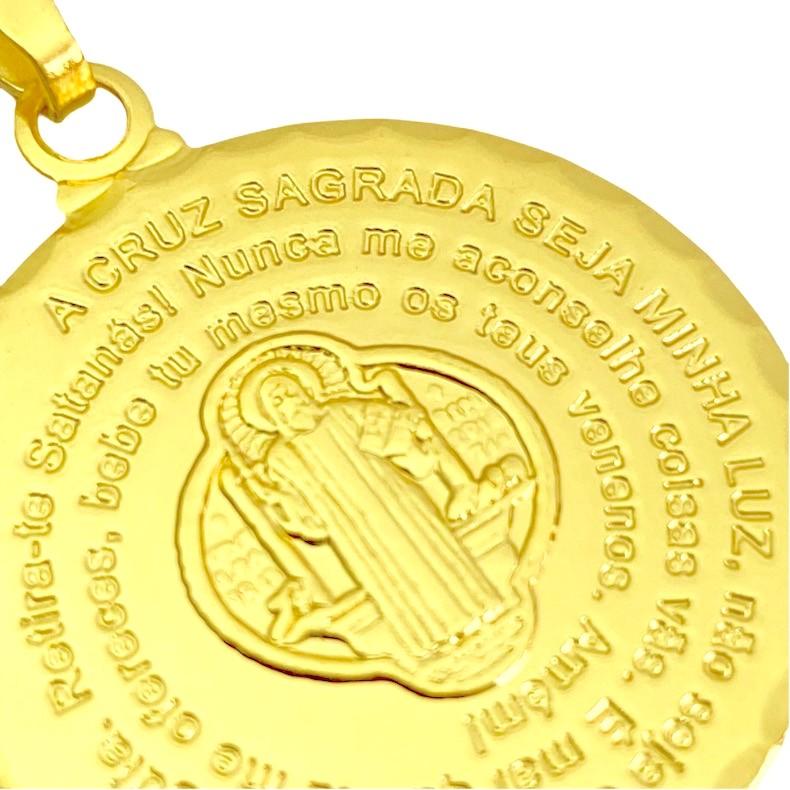 Pingente Medalhão São Bento (3,1cmX2,7cm) (Banho Ouro 24k)