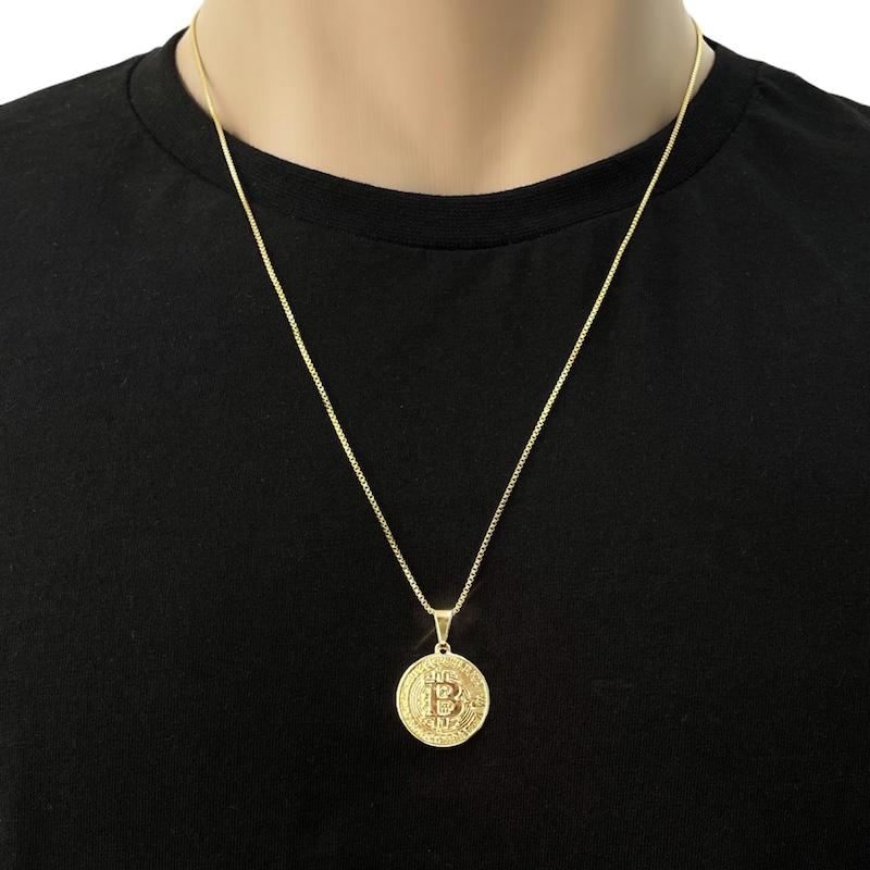 Pingente Moeda ''Bitcoin'' M (2cmX2cm) (Banho Ouro 24k)