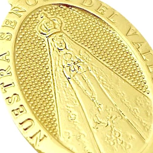 Pingente Medalha Oval Nossa Senhora Aparecida (2,5cmX1,7cm) (Banho Ouro 24k)