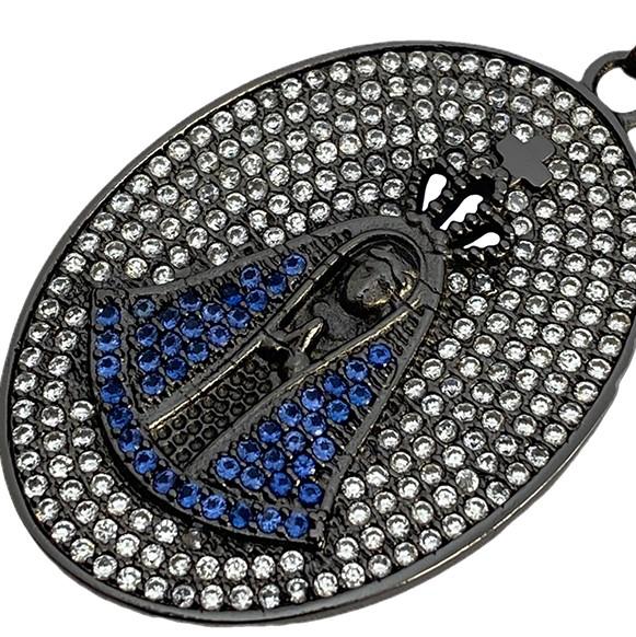 Pingente Nossa Senhora Aparecida Oval Cravejado em Zircônia (10,2g) (4cmX3cm) (Banho de Ônix)