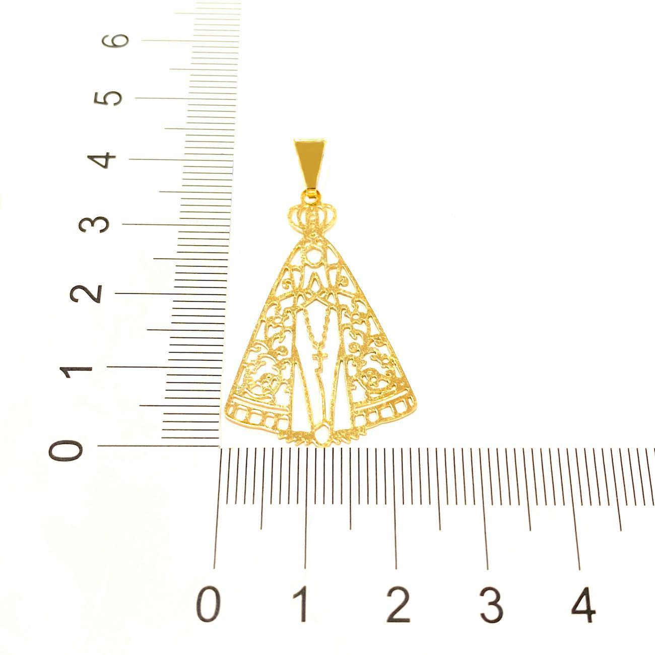 Pingente Nossa Senhora Aparecida Vazada (3,7cmX2,5cm) (Banho Ouro 24k)