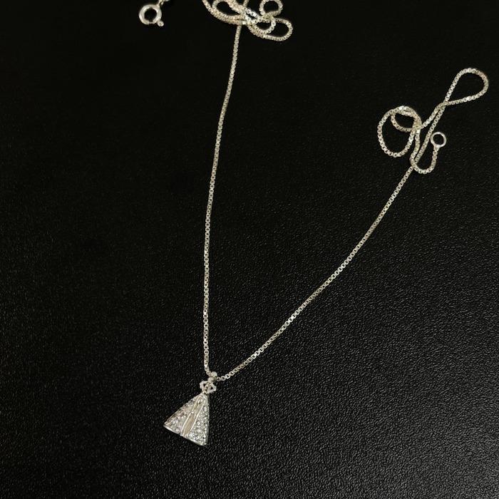 Pingente Nossa Senhora Cravejada Zircônia (1,5cmX1,1cm) (Prata 925 Maciça)