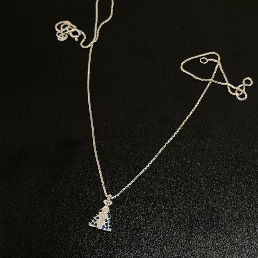 Pingente Nossa Senhora Cravejada Zircônia Azul (1,5cmX1,1cm) (Prata 925 Maciça)