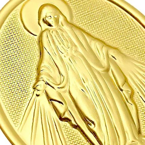 Pingente Nossa Senhora das Graça Oval Texturizada (5,7cmX3,5cm) (Banho Ouro 24k)