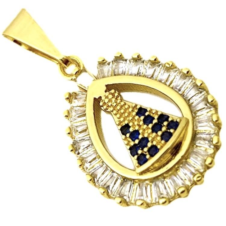 Pingente Nossa Senhora Oval 1,6x1,3cm (Banho Ouro 24k)