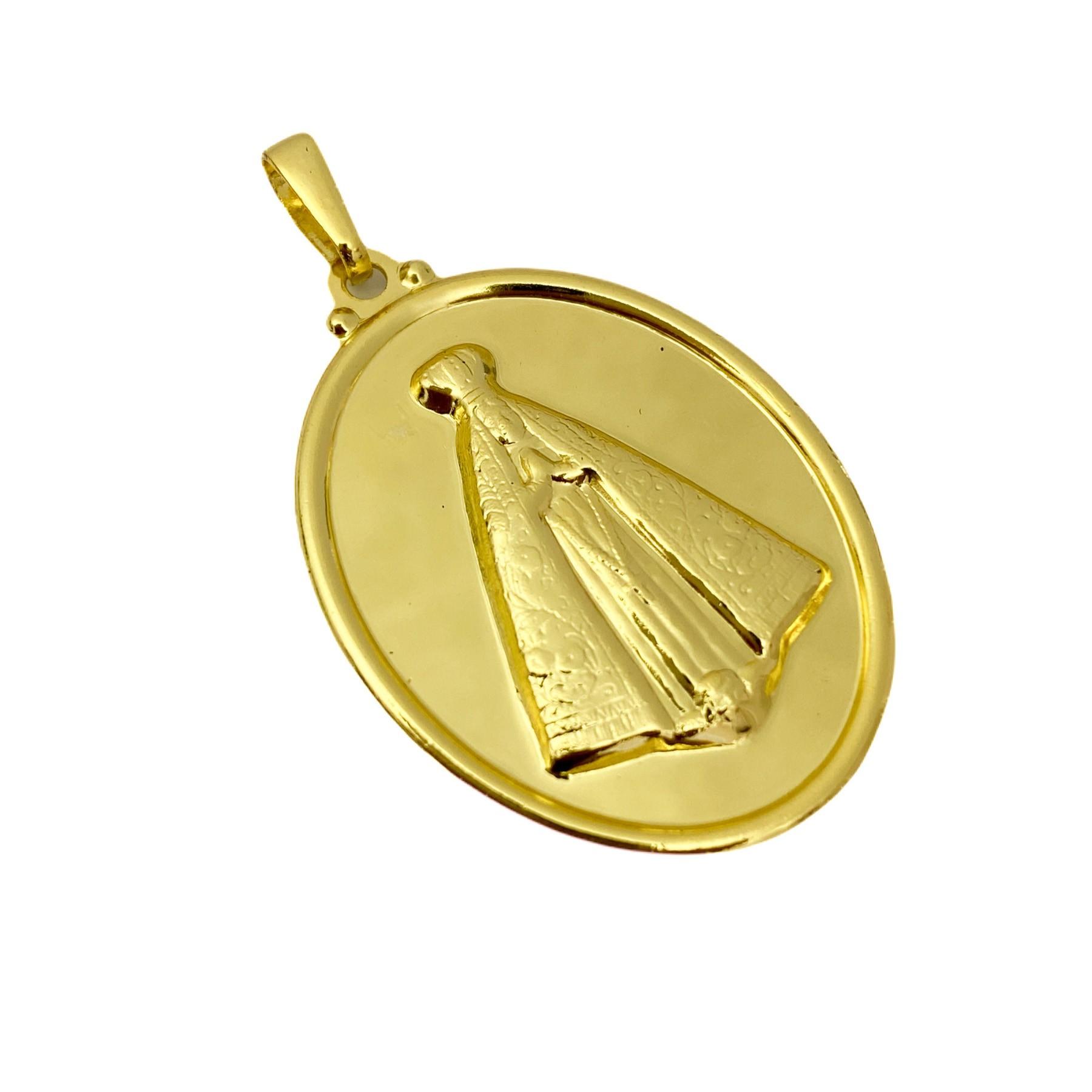 Pingente Nossa Senhora Oval Sobre 3,3cm X 2,5cm (2,8g) (Banho Ouro 24k)
