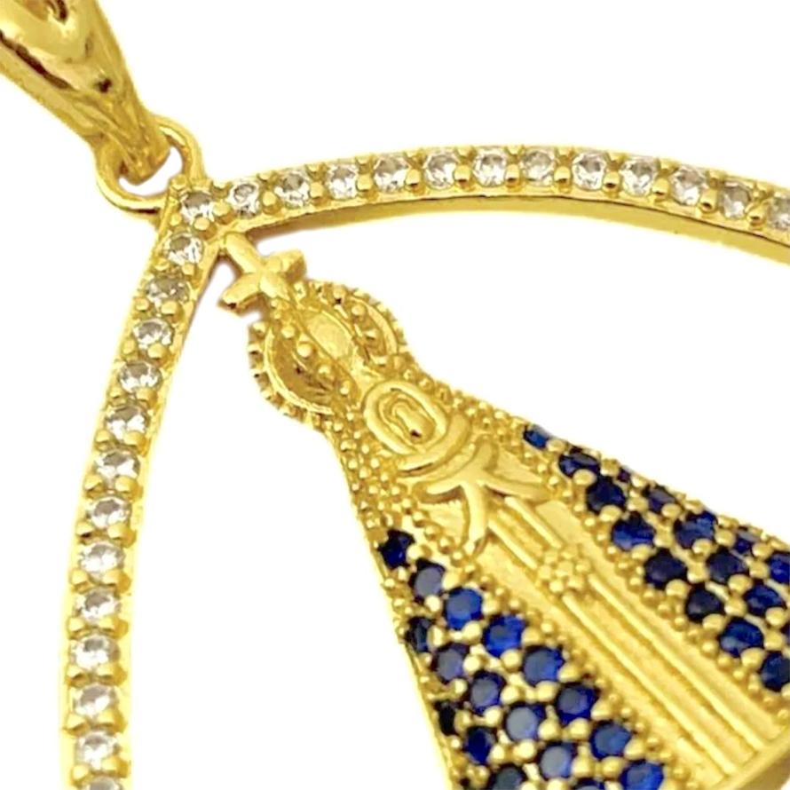Pingente Nossa Senhora Retângulo Cravejado (2,3cmX2,3cm) (Banho Ouro 24k)