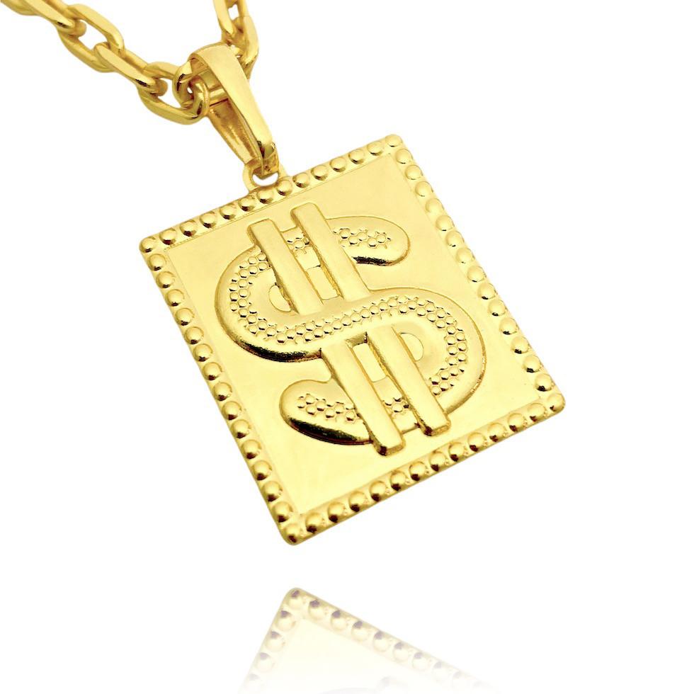 Pingente Placa Cifrão (3cmX2,4cm) (Banho Ouro 24K)