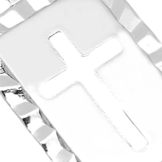 Pingente Placa com Cruz Vazada (1,8cmX1,2cm) (Banho Prata 925)