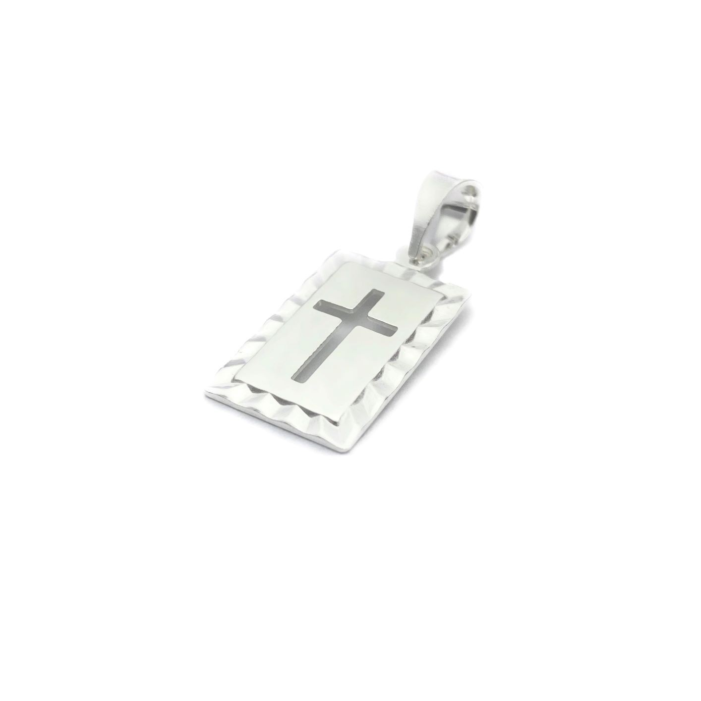Pingente Placa Cruz Vazada 1,8cm X 1,2cm (Prata 925 Italiana)