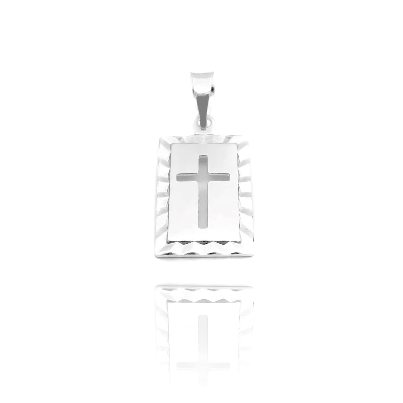 Pingente Placa Cruz Vazada (1,8cmX1,4cm) (Prata 925 Italiana)
