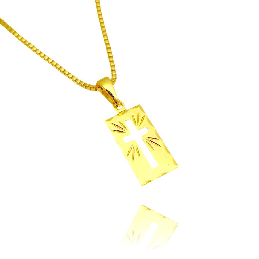 Pingente Placa de Cruz Vazada (1,6cmx1cm) (Banho Ouro 24k)