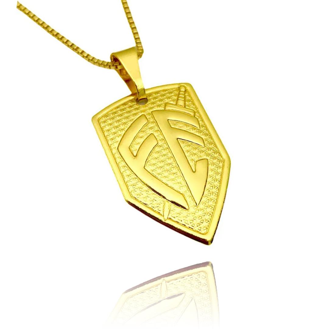 Pingente Placa Escudo da Fé M (2,8X1,8cm) (2,5g) (Banho Ouro 24k)