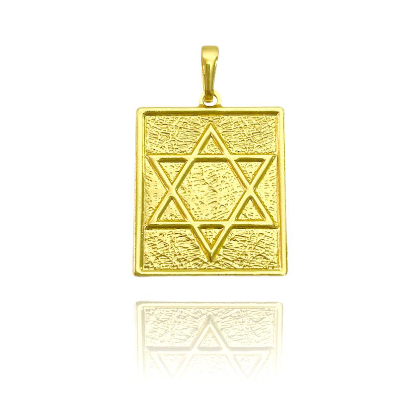 Pingente Placa Estrela De Davi (3cmX2,4cm) (Banho Ouro 24k)