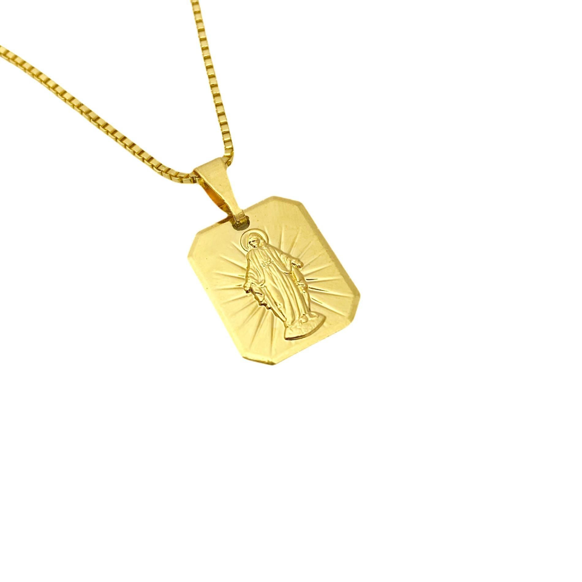 Pingente Placa Nossa Senhora Mini (1,7cmX1,4cm) (Banho Ouro 24k)
