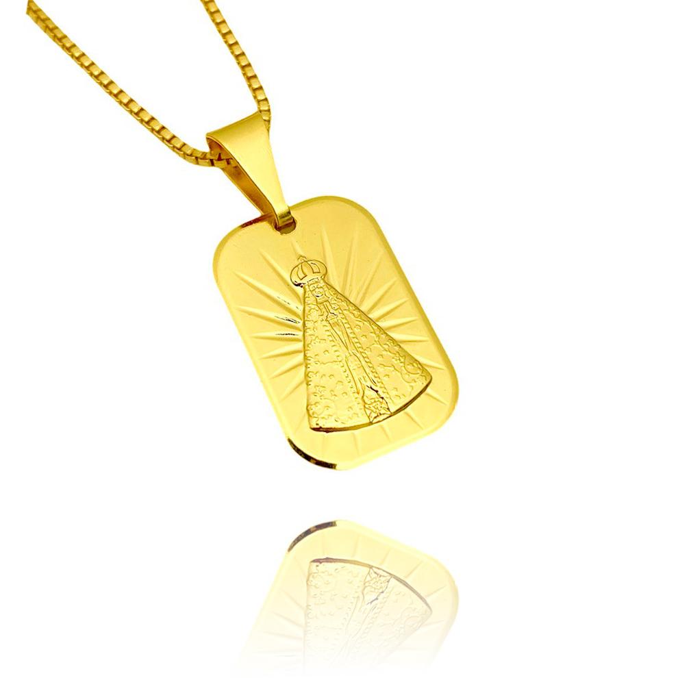 Pingente Placa Nossa Senhora Aparecida (2cmX1,3cm) (Banho Ouro 24k)