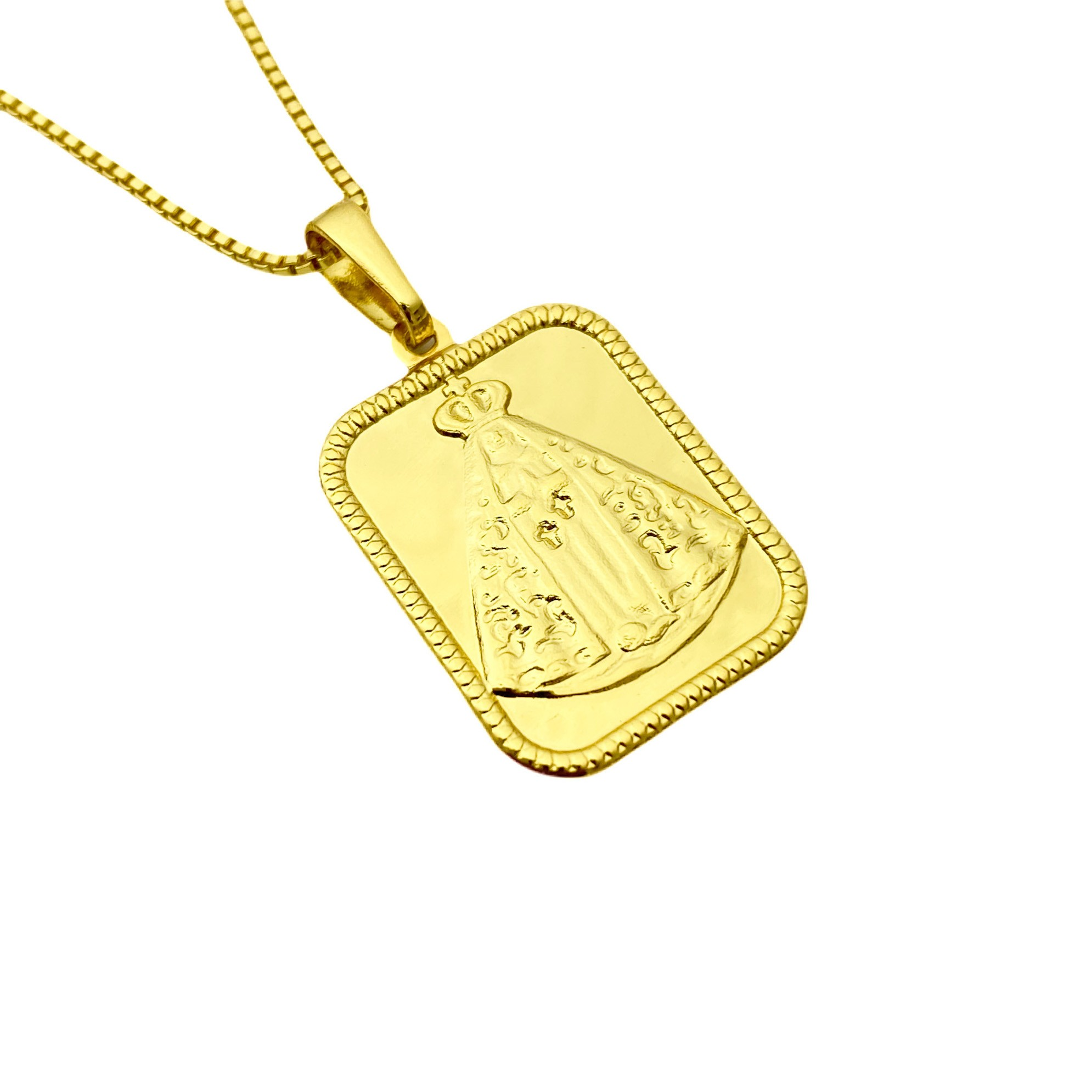 Pingente Placa Nossa Senhora Aparecida 2,2cm X 1,7cm  (2,3g) (Banho Ouro 24k)
