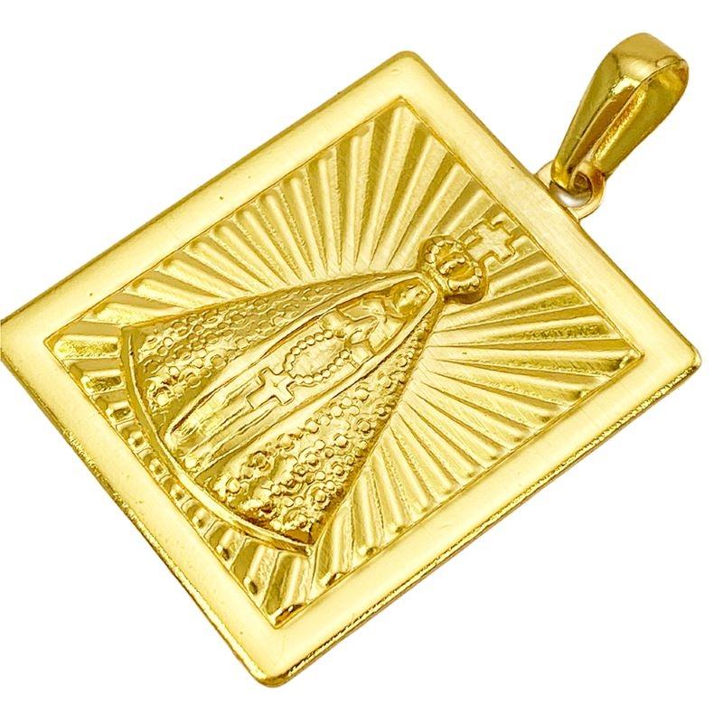 Pingente Placa Nossa Senhora Aparecida 2 (3cmX2,4cm) (Banho Ouro 24k)