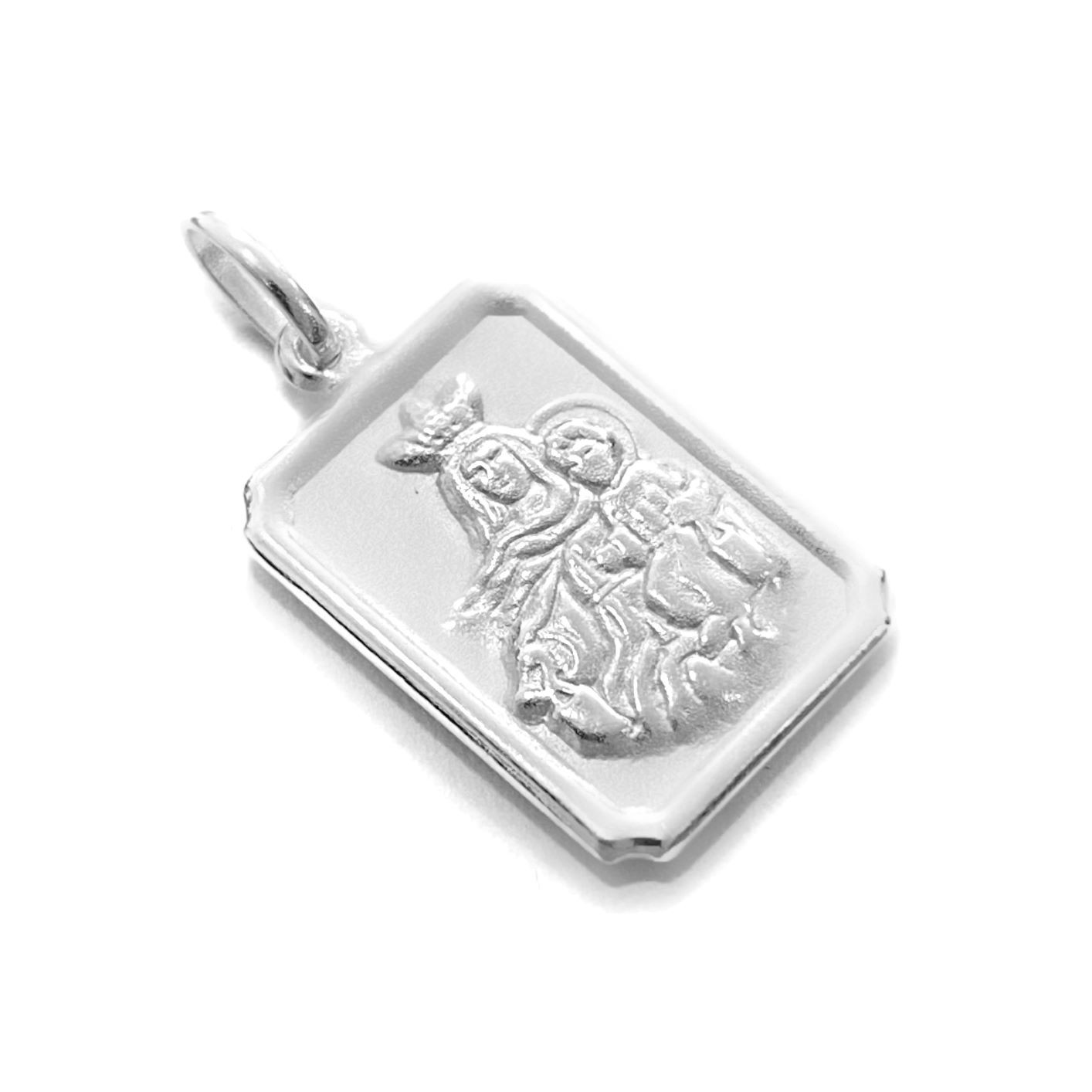 Pingente Placa Nossa Senhora do Carmo 1,7cm X 1,1cm (Prata 925 Italiana)
