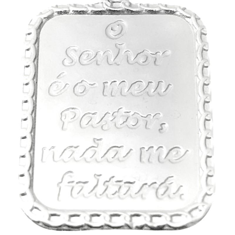 """Pingente Placa """"O senhor é o meu pastor"""" 2,2cm x 1,7cm (Prata 925 Italiana)"""