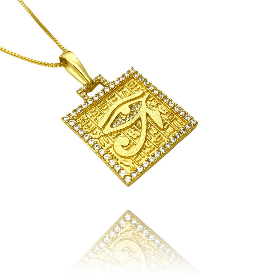Pingente Placa Olho de Hórus Cravejado em Zircônia (2,8cmX2,4cm) (7,9g) (Banho Ouro 24k)