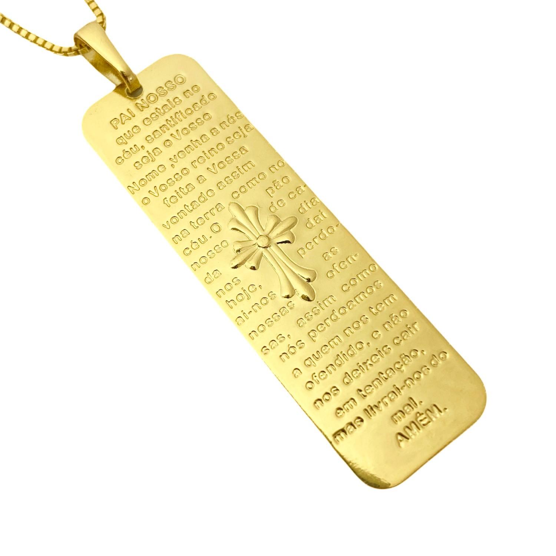 Pingente Placa Oração Pai Nosso 1,4cm x 4,7cm