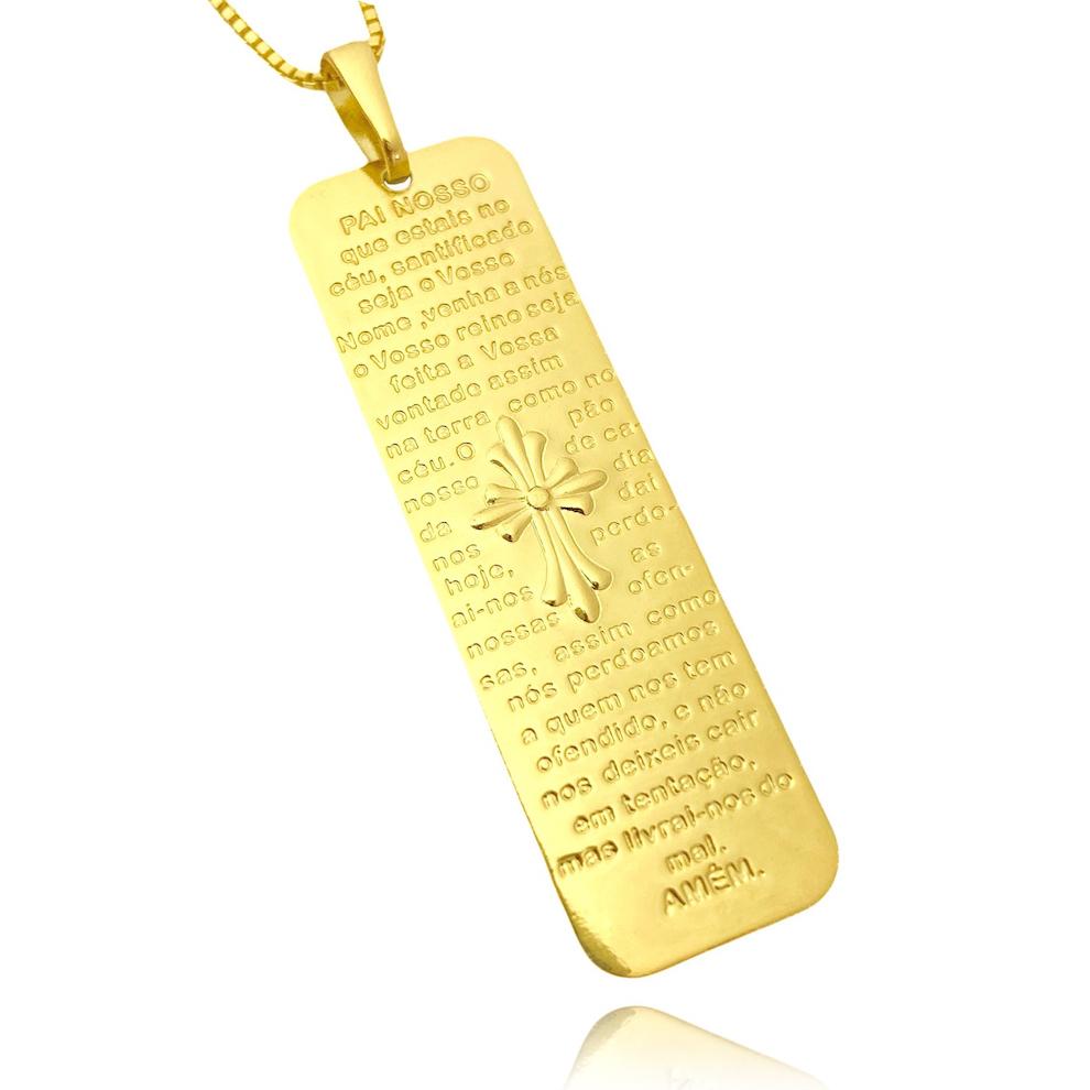 Pingente Placa Oração Pai Nosso (5,9cmX1,6cm) (Banho Ouro 24k)