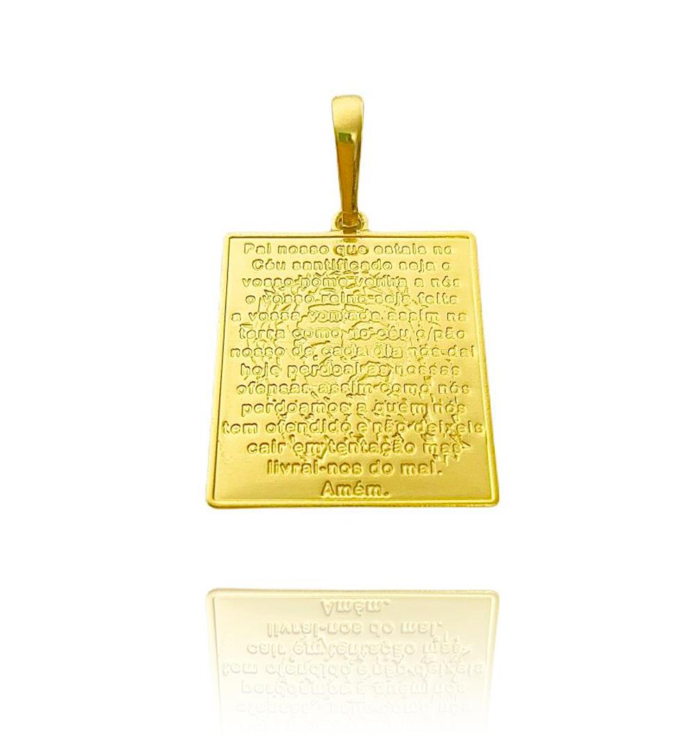 Pingente Placa Oração Pai Nosso c/ Cristo (3cm X 2,3cm) (Banho Ouro 24k)