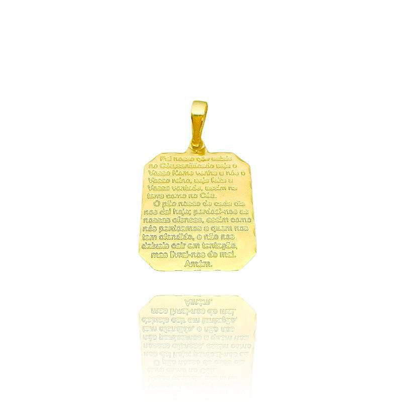 Pingente Placa Pai Nosso 2 (2,8cmX2cm) (Banho Ouro 24k)