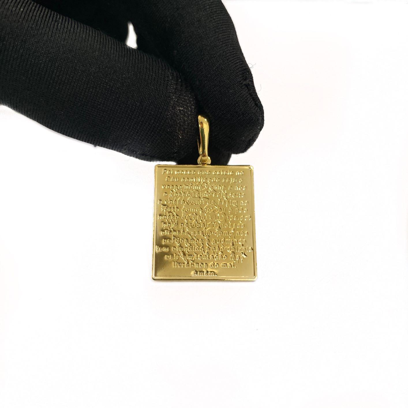Pingente Placa Pai Nosso 2,5cm X 2,2cm