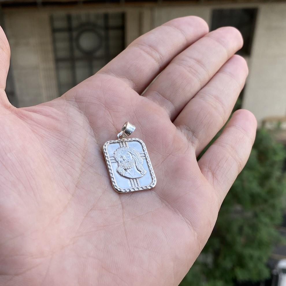 Pingente Placa Rosto De Cristo 2,2cm x 1,7cm (Prata 925 Italiana)