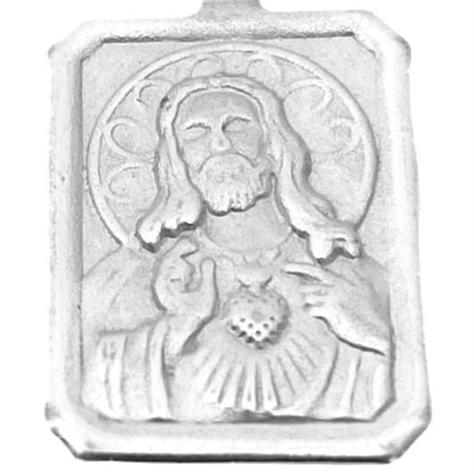 Pingente Placa Sagrado Coração 1,5cm X 1,1cm (Prata 925 Italiana)