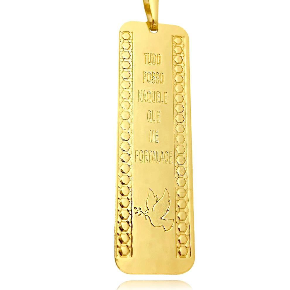 """Pingente Placa """"Tudo Posso"""" (4,9cmX1,6cm) (Banho Ouro 24k)"""