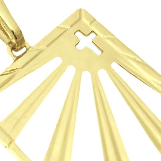 Pingente Placa Vazada com Cruz (3cmX2,3cm) (Banho Ouro 24k)