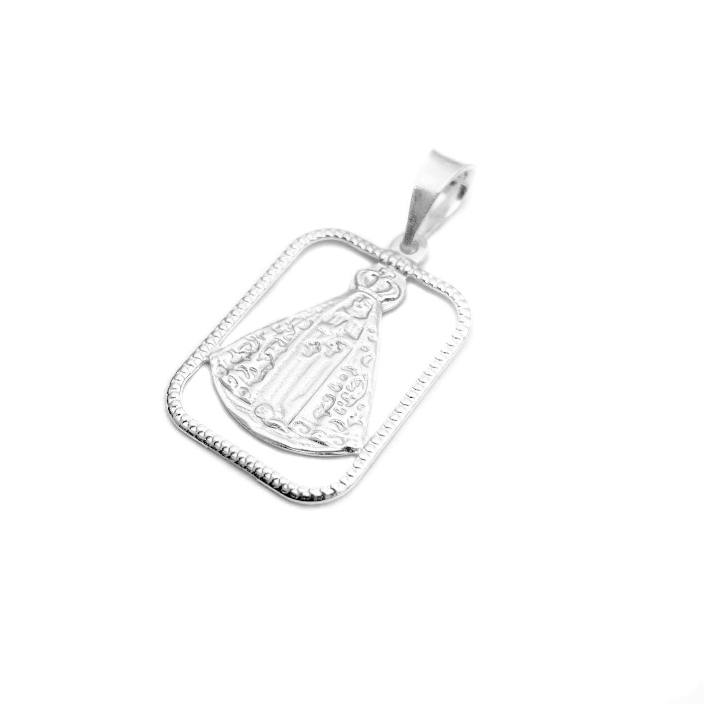 Pingente Placa Vazada Nossa Senhora 2,2cm x 1,7cm (Prata 925 Italiana)