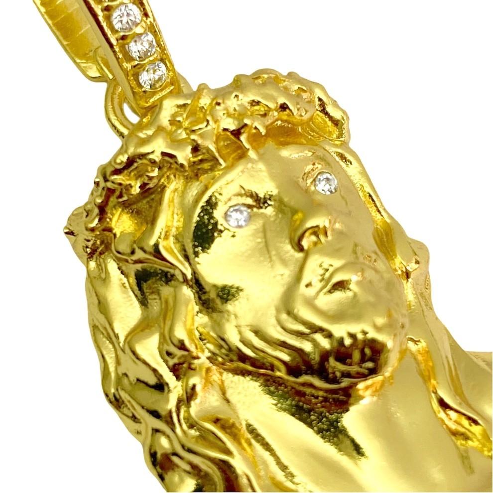 Pingente Rosto De Cristo 4D (3cmX2,2cm) (10,6g) (Banho Ouro 24k)