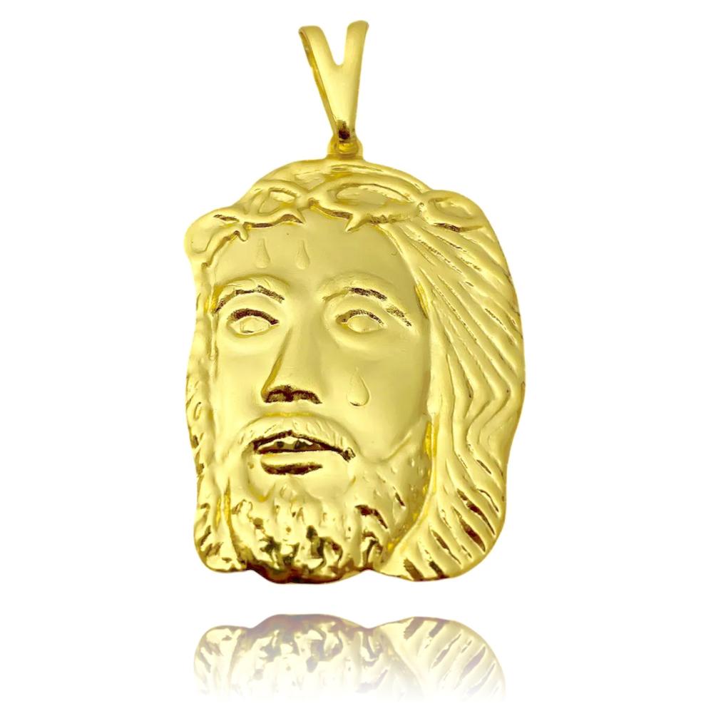 Pingente Rosto de Cristo G (3,6cmX2,8cm) (Banho Ouro 24k)