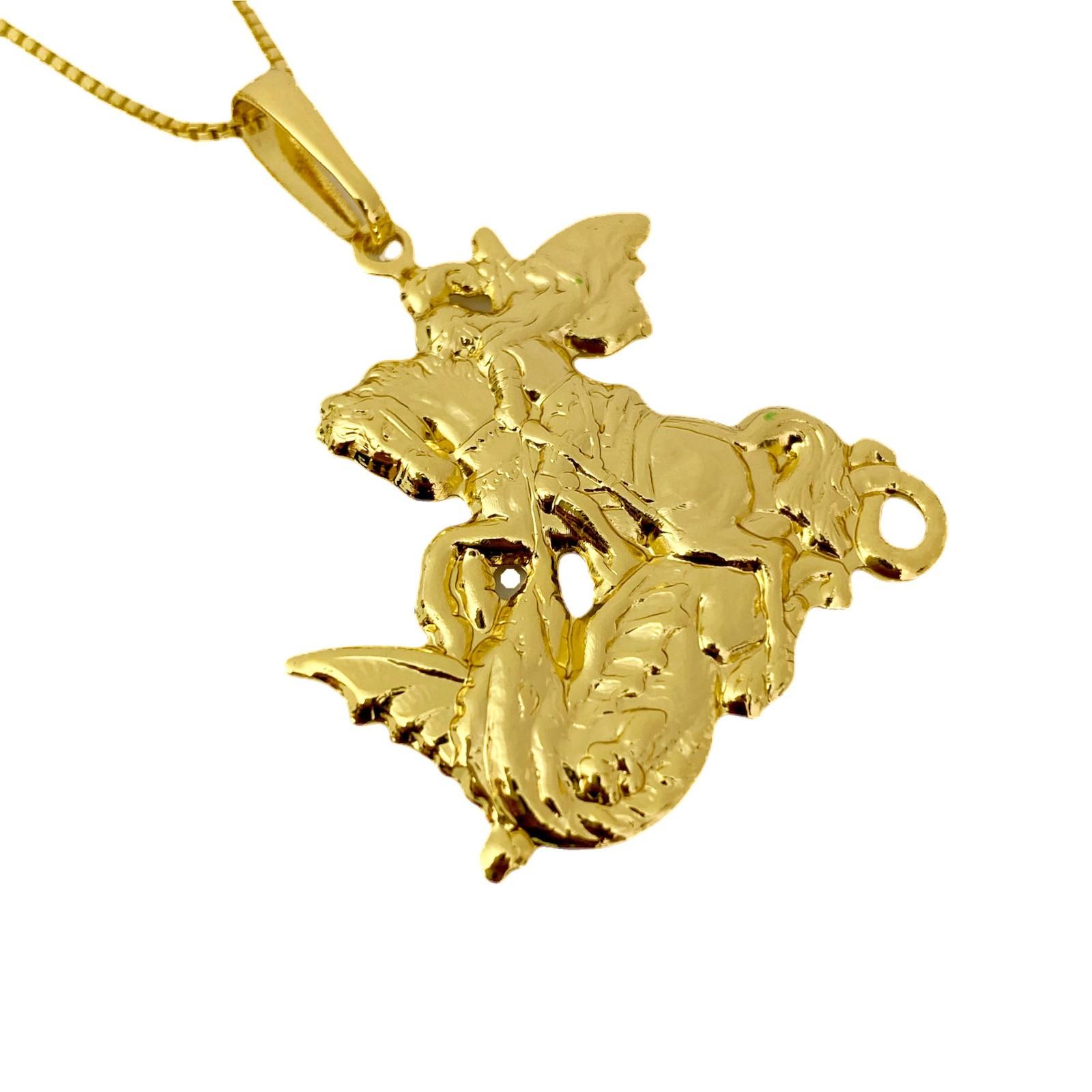 Pingente São Jorge (3,6cmX3,5cm) (Banho Ouro 24k)