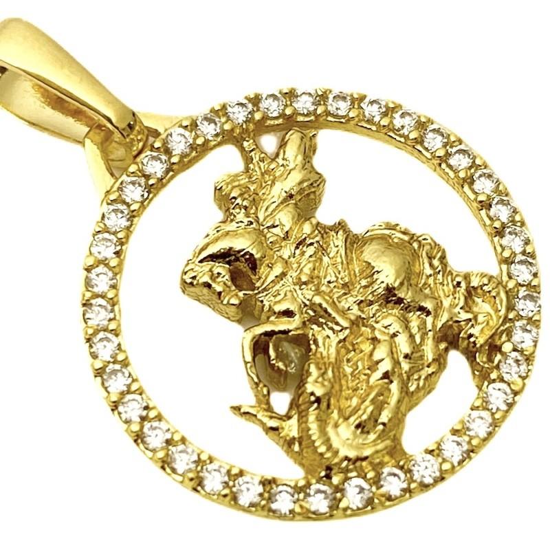 Pingente São Jorge Cravejada em Zircônia (2cmX2cm) (Banho Ouro 24k)