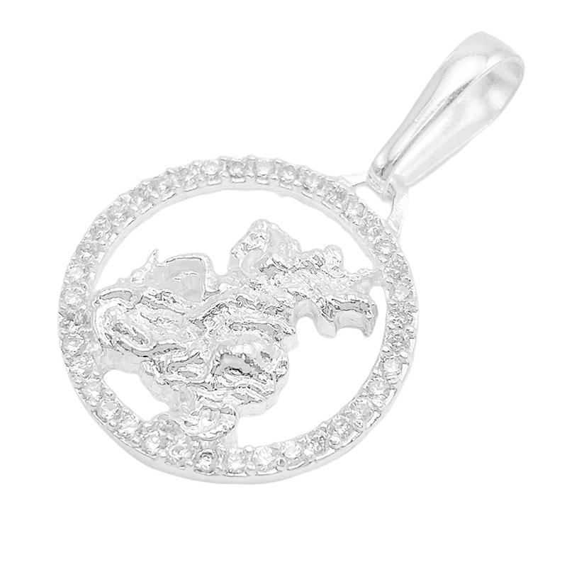 Pingente São Jorge Cravejada em Zircônia (2cmX2cm) (Banho Prata 925)