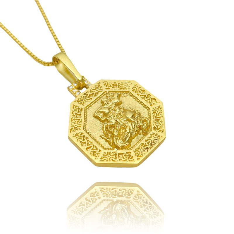 Pingente São Jorge Texturizado Cravejado em Zircônia (2,8cmX2,5cm) (Banho Ouro 24k)