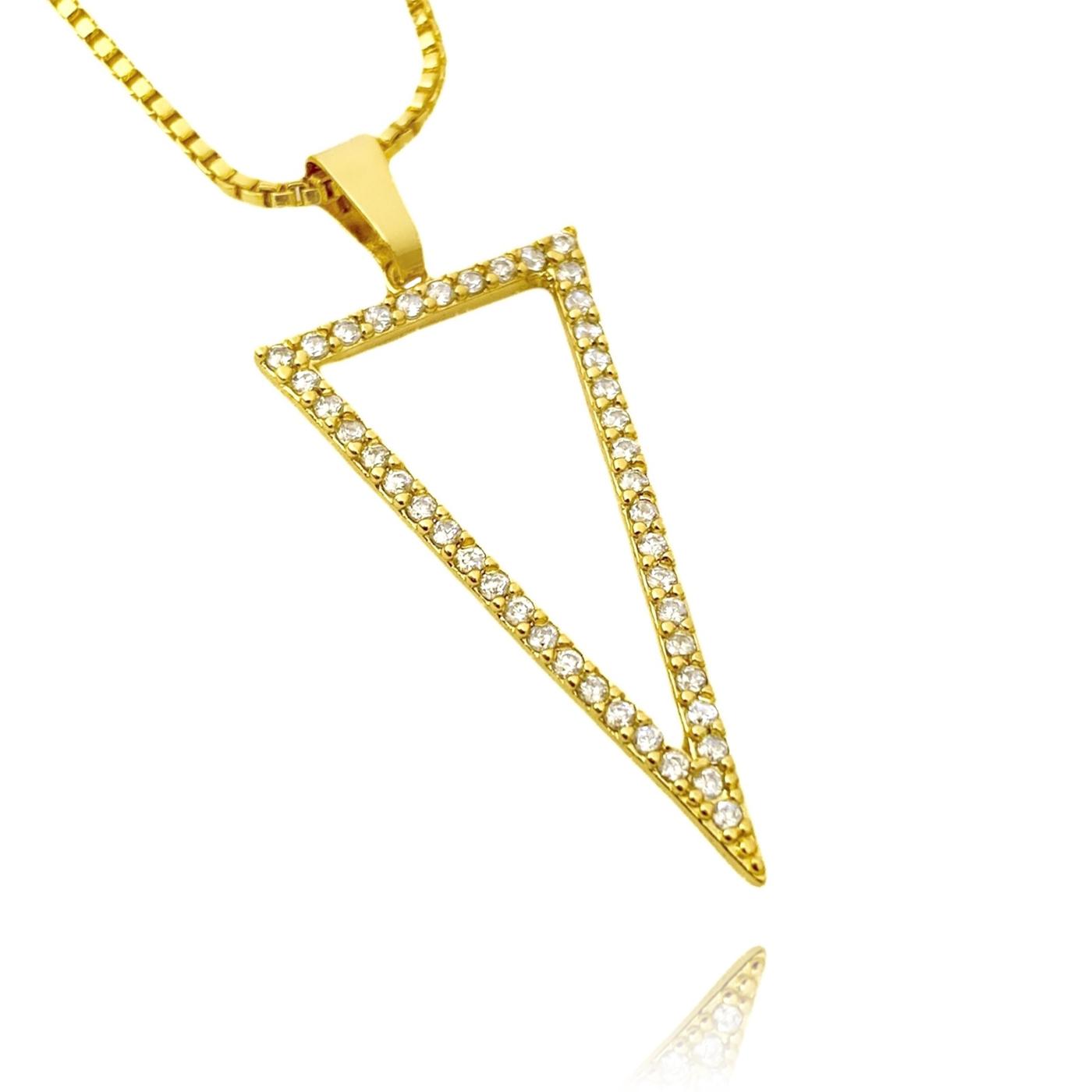 Pingente Triângulo Invertido Cravejado em Zircônia (Banho Ouro 24k)