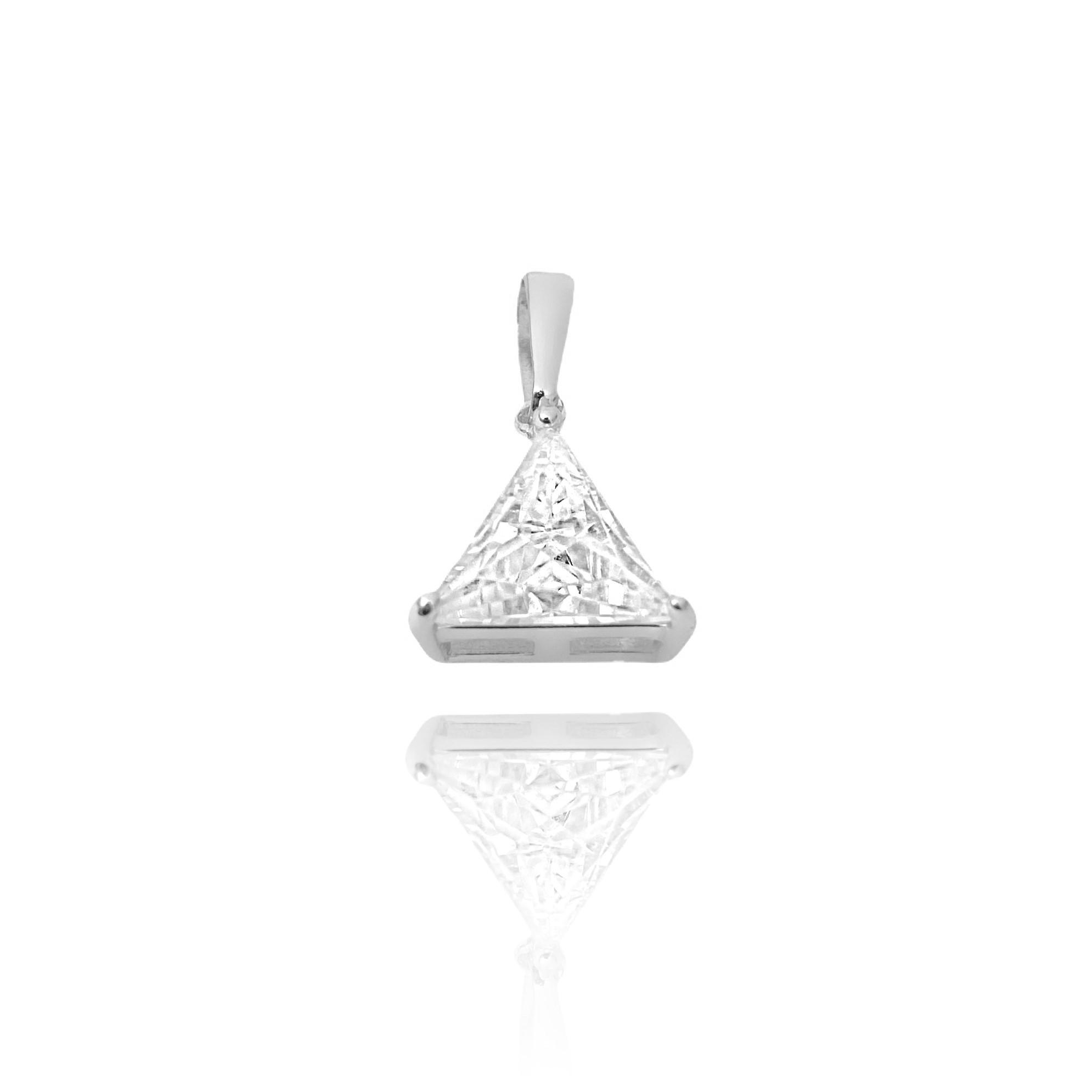 Pingente Triângulo Pedra Zircônia (1,5cmX1,2cm) (Banho Prata 925)