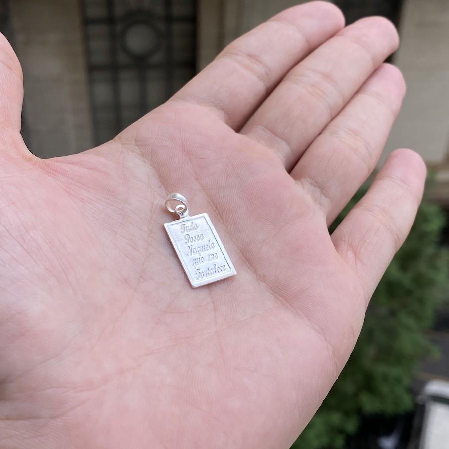 """Pingente """"Tudo posso"""" 2,1cm x 1,2cm (Prata 925 Italiana)"""