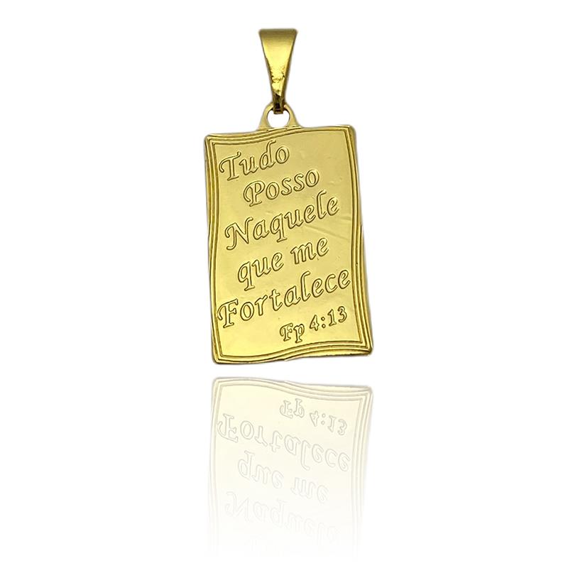 Pingente Tudo Posso (2,3cmX1,4cm) (Banho Ouro 24k)