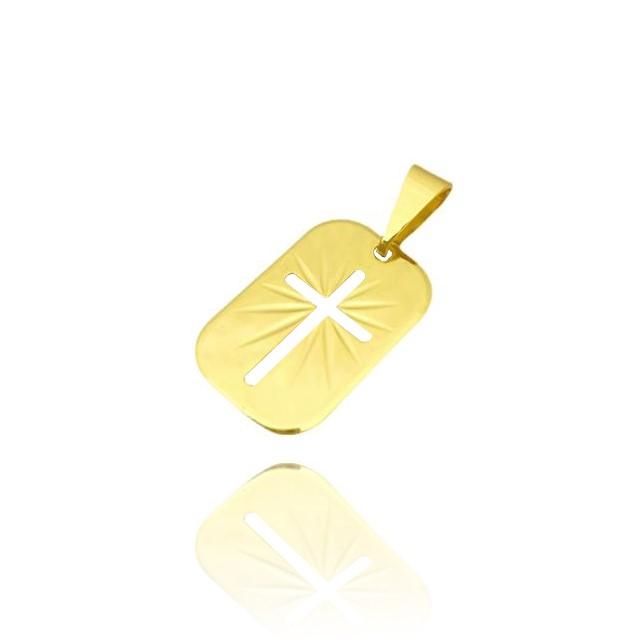 Placa Com Cruz Vazada (2,2cmX1,5cm) (Banho Ouro 24k)