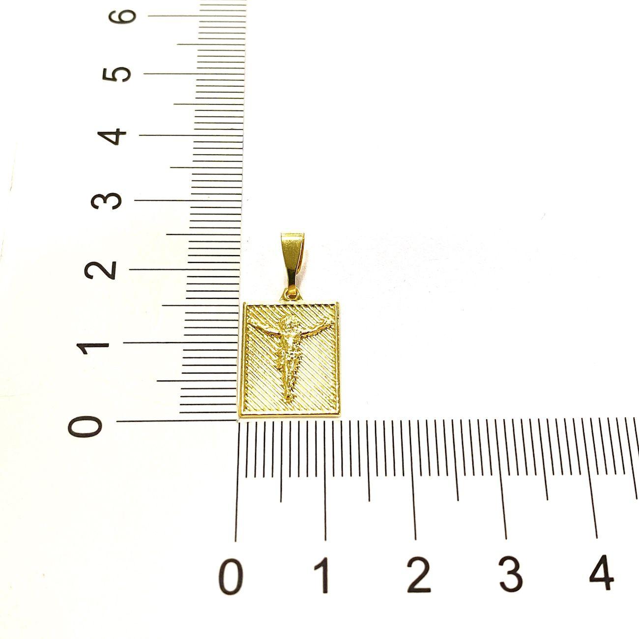 Placa De Cristo Texturizado (1,9cmX1,4cm) (Banho Ouro 24k)