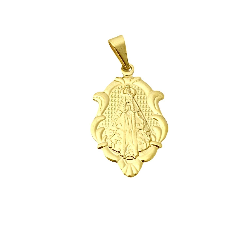 Pingente Medalha Nossa Senhora Mini (1,8cmX1,2cm) (Banho Ouro 24k)